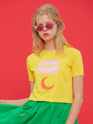 DOLLS ONLY MOON PRINT CROP T/YELLOW