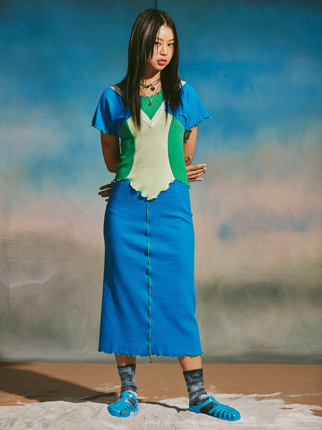 [미미카위] BALL LINE SHIRRING LONG DRESS/BLUE